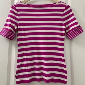 EUC Lauren Ralph Lauren Fuschia & White Stripe Top